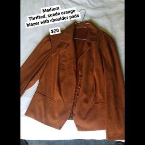 Orange Suede Blazer Jacket
